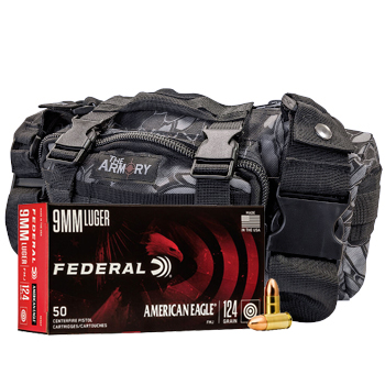9mm 124gr FMJ Federal American Eagle Ammo - 500rds in The Armory Black Python Range Bag