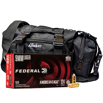 9mm 124gr FMJ Federal American Eagle Ammo - 350rds in The Armory Black Range Bag