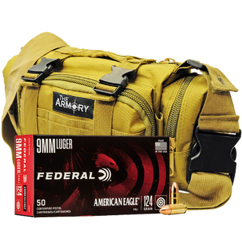 9mm 124gr FMJ Federal American Eagle Ammo - 350rds in The Armory Tan Range Bag