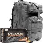 9mm 115gr FMJ CCI Blazer Brass Ammo - 1000rds in The Armory Black Backpack