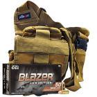 9mm 115gr FMJ CCI Blazer Brass Ammo - 500rds in The Armory Tan Shoulder Bag