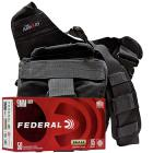 9mm 115gr FMJ Federal Champion Training Ammo - 350rds in The Armory Black Shoulder Bag