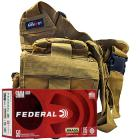 9mm 115gr FMJ Federal Champion Training Ammo - 350rds in The Armory Tan Shoulder Bag