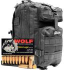9mm Luger 115gr FMJ Wolf Performance Ammo in The Armory Black Backpack (1000 rds)