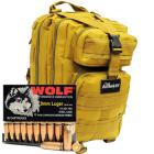 9mm Luger 115gr FMJ Wolf Performance Ammo in The Armory Tan Backpack (1000 rds)