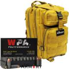 9mm 115gr FMJ Wolf Polyformance Ammo - 500 Rounds in The Armory Tan Backpack