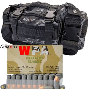 9mm 115gr FMJ Wolf Military Classic Ammo - 350rds in The Armory Black Python Range Bag