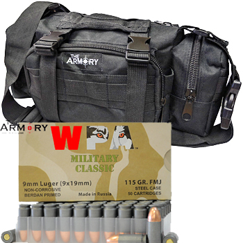 9mm 115gr FMJ Wolf Military Classic Ammo - 350rds in The Armory Black Range Bag