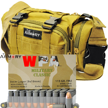 9mm 115gr FMJ Wolf Military Classic Ammo - 350rds in The Armory Tan Range Bag