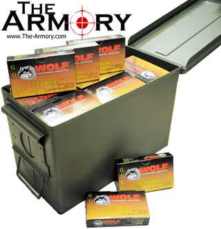 223 Remington (5.56x45mm) 55gr FMJ Wolf Gold - 1000rds in 50 Cal Ammo Can