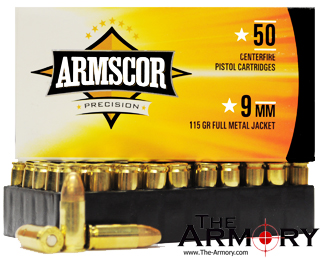 9mm Luger 9x19mm 115 Gr FMJ Armscor Precision Ammo Case 1000 Rds