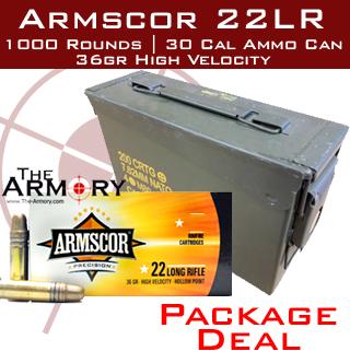 22LR 36gr Armscor High Velocity HP Ammo Case w/30 Cal Ammo Can (1000 rds)