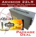 22LR 36gr Armscor High Velocity HP Ammo Case w/30 Cal Ammo Can (1000 rds)