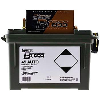 45 ACP (45 Auto) 230gr FMJ CCI Blazer Brass Ammo in Plano Box (200 rds)