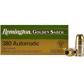 380 Auto (ACP) 102gr BJHP Remington Golden Saber Ammo Box (25 rds)
