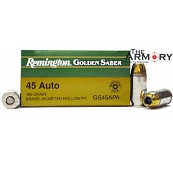 45 ACP (45 Auto) 185gr HPJ Remington Golden Saber Ammo Box (25 rds)