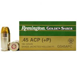 45 ACP (45 Auto) 185gr +P HPJ Remington Golden Saber Ammo Box (25 rds)