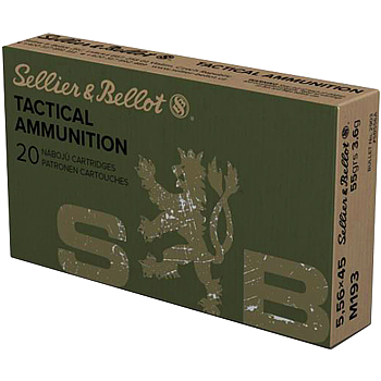 5.56x45mm M193 55gr FMJ Sellier & Bellot Ammo Box (20 rds)