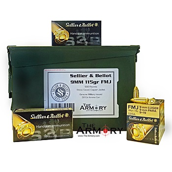 9mm Luger 115gr FMJ Sellier & Bellot - 500rds in 30 Cal Ammo Can