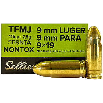 9mm Luger (9x19mm) 115gr Non-Toxic TFMJ Sellier & Bellot Ammo Box (50 rds)