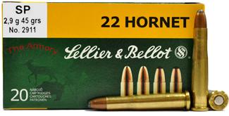 22 Hornet 45gr SP Sellier & Bellot Ammo Box (20 rds)