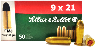 9x21mm 115gr FMJ Sellier & Bellot Ammo Box (50 rds)