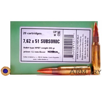 308 Winchester (7.62x51) Subsonic 200gr HPBT Sellier & Bellot Ammo Box (20 rds)
