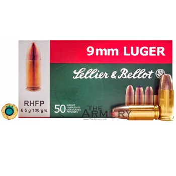 9mm Luger 100gr RHFP (Frangible) Sellier & Bellot Ammo Box (50 rds)