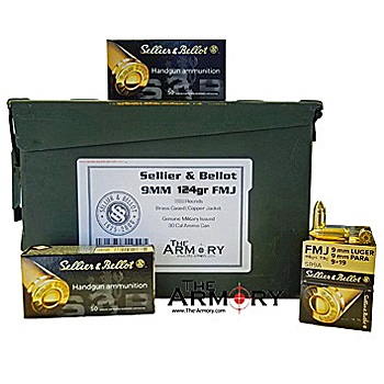 9mm Luger (9x19mm) 124gr FMJ Sellier & Bellot - 350rds in 30 Cal Ammo Can
