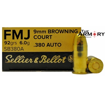 380 Auto (ACP) 92gr FMJ Sellier & Bellot Ammo Box (50 rds)