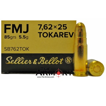7.62x25mm Tokarev 85gr FMJ Sellier & Bellot Ammo Box (50 rds)