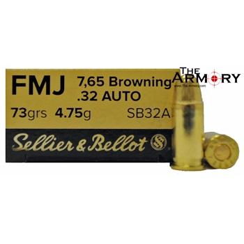 32 Auto (ACP) 73gr FMJ Sellier & Bellot Ammo Box (50 rds)
