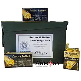9mm Luger 115gr FMJ Sellier & Bellot - 350rds in 30 Cal Ammo Can