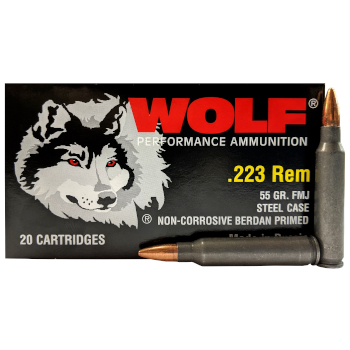 223 Remington (5.56x45mm) 55gr FMJ Wolf Performance Ammo