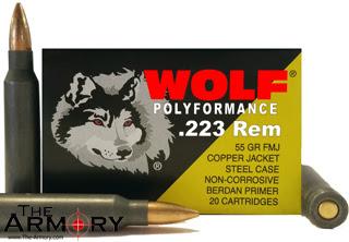223 Remington (5.56x45mm) 55gr FMJ Copper Jacket Wolf Polyformance Case (500 rds)