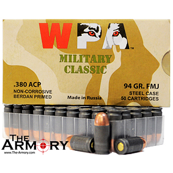 380 Auto (ACP) 94gr FMJ Wolf Military Classic Ammo Brick (500 rds)