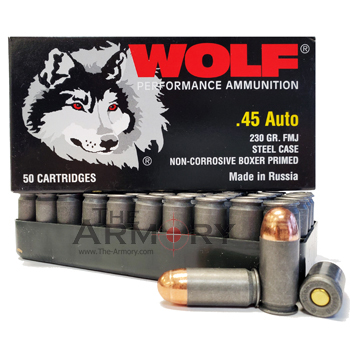 45 ACP (45 Auto) 230gr FMJ Wolf Performance Ammo Box (50 rds)