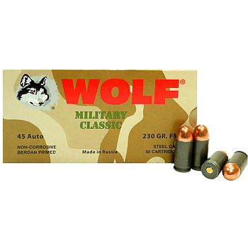 45 ACP (45 Auto) 230gr FMJ Wolf Military Classic Ammo Case (500 rds)