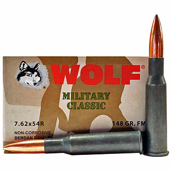 Buy This 7.62x54r 148 gr FMJ Wolf Box Ammo for Sale