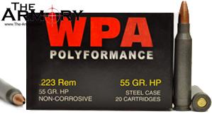 223 Remington (5.56x45mm) 55gr Hollow Point Wolf WPA Polyformance Box (20 rds)