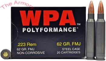 223 Remington (5.56x45mm) 62gr FMJ Ammo Wolf WPA Box (20 rds)