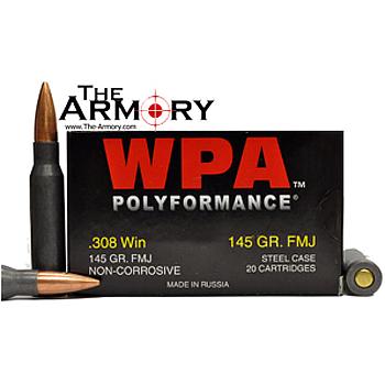 308 Winchester (7.62x51mm) 145gr FMJ Wolf WPA Polyformance Ammo Case (500 rds)