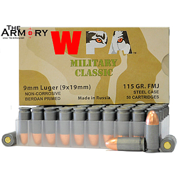 Buy This 9mm Luger (9x19mm) 115 gr FMJ Wolf WPA MC Ammo for Sale