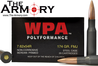 Buy This 7.62x54r 174gr FMJ Wolf WPA Polyformance Ammo for Sale
