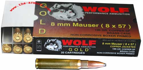 Wolf 8mm Mauser (8x57mm) 196gr SPBT Rifle Ammunition