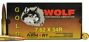 Buy This 7.62x54r 150 gr FMJ Wolf Gold Ammo for Sale