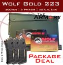 Wolf Gold 223 300 Rounds & 3 AR-15 Magazines Packed in a 30 Cal Ammo Can