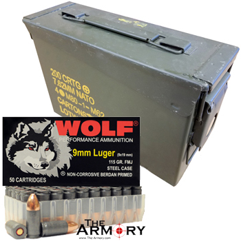 9mm 115gr FMJ Wolf Performance Ammo - 350rds in Surplus 30 Cal Ammo Can