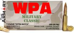 7.62x54R 200gr FMJ Extra Match Wolf WPA Military Classic Ammo Box (20 rds)