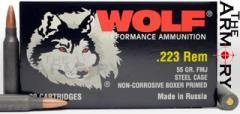 223 Remington (5.56x45mm) 55gr FMJ Wolf Performance Ammo in Wolf Box (Case | 1000rds) NG